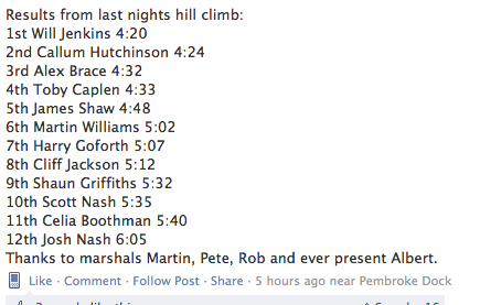 Results of Hill climb