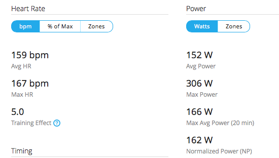 Power data from the race, my heart rate is much higher but power is lower