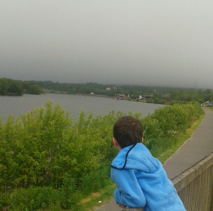 Devon, watching the swimmers in the mist!